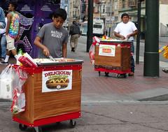 Portable Meat (Blinking Charlie) Tags: concession hotdogcart sanfrancisco california usa 2015 marketstreet prideparade street urban vendors hawkers sonydscrx100m3 blinkingcharlie masonstreet thetenderloin