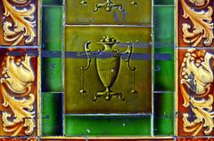Glazed wall-tiles / Mitcham (Images George Rex) Tags: london merton uk architecture glazedtiles faience victorian exterior walltiles urn acanthus england photobygeorgerex unitedkingdom britain imagesgeorgerex londonroad mitcham neoclassical green olive brown vase pilaster pilasterface