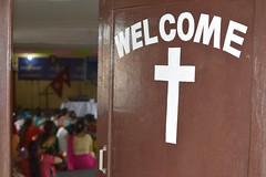 Harvest Kathmandu, Nepal (laurazimmerman81) Tags: nepal church welcome door enter people jesus bible womensconference cross women colors beauty join