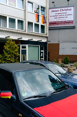 Jesus Has Come (Bruno.T71) Tags: german flag street car germany nrw dsseldorf rath jesuschrist duesseldorf