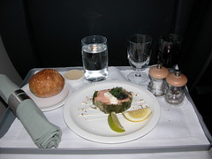 My lunch on the Concorde - Appetiser (TheMachineStops) Tags: inflight meal plane food sst airplane supersonic jet bac aircraft airplanefood airplanemeal ba concorde britishairways aeroplane foodporn lunch aviation vacation travel indoor deltawing firstclass
