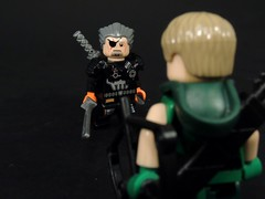 Hello, Mr. Queen (MrKjito) Tags: lego minifig dc comics oliver queen deathstroke slade wilson green arrow cw unmasked villlain custom mercenary friends betrayel