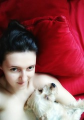 Lady and a dog (eweliyi) Tags: eweliyi me ja self red couch dog soap terrier 365v4 face woman girl