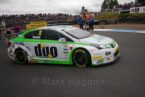 Rob Austin on the grid during the BTCC weekend at Knockhill, August 2016