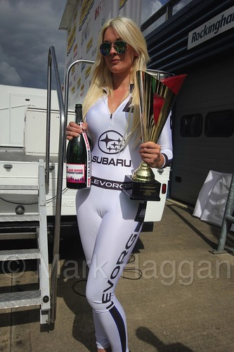 Krysta Moody with Jason Plato's third place trophy at Rockingham, August 2016