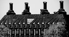 Portcullis House Another Editing Experiment IMG_2520 resized (Robyn Aldridge will get back on track by late next) Tags: portcullishouse london england architecture blackwhite chimneys airconditioning landscape canon7d canon building buildings design tamron18270mm texture tops trees windows
