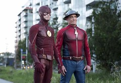 The Flash and The Flash (Guardian Screen Images) Tags: the flash 2014 tv series show superhero super hero speed speedster dc comics comic books book spin off spinoff cw warner bros brothers television crimson network john wesley shipp henry allen jay garrick earth3 earth 3 grant gustin barry fastest man alive scarlet fast