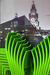 BRY_20160318_IMG_8202_ (stephenbryan825) Tags: albertdock liverpool portofliverpoolbuilding royalliverbuilding buildings cafe chairs contrast green juxtapositions selects threegraces