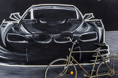 Dream and Reality (*Capture the Moment*) Tags: 2016 bmw bicycle bild fahrrad kunstkultur malerei minimalism minimalismus olympischesdorf paintings picture sonya7ii sonysel90m28g studentenwohnungen studentshome