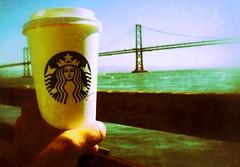 "Personal Celebration (""Cisco Kid"") Tags: photoshop color texture coffee cup ocean sanfrancisco baybridge"