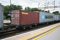 92630 Northampton 090816 (Dan86401) Tags: 92630 rls92630 92 kfa freightliner fl intermodal modal container flat wagon freight rls standardwagon touax northampton wcml 4l90 maersk