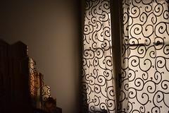 tenda astratta /  abstract design on a curtain (Vincenzo Elviretti) Tags: disegno astratto luce filtrante firenze soggiorno coccinella hotel