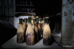 Too late to drink ? (Fabienne G) Tags: bottle objet vin vintage cave bodegas colors processing