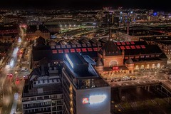 Aerial view of the train station (karinavera) Tags: travel nikond5300 station night kbenhavn copenhagen aerial train cityscape longexposure view centralstation