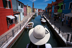 burano (Roberto.Trombetta) Tags: italy italia venezia venice hat cappello burano isola island sony alpha 7rm2 7rii carl zeiss batis225 batis river water canale rio boat barca church chiesa colors house home reflection black hair summer hot weather landscape people tourist holiday ilce