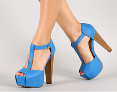 "leatherette buckle t strap peep toe blue • <a style=""font-size:0.8em;"" href=""http://www.flickr.com/photos/64360322@N06/15731608643/"" target=""_blank"">View on Flickr</a>"
