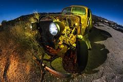 Exposed (Aztravelgrl (Forgotten Places Photography)) Tags: california nightphotography usa lightpainting abandoned car night fullmoon fisheye startrails desertcenter frogottenoasisinthedesert