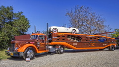 1947 Car Hauler with 3 Nash Automobiles pulled by a 1949 GMC (dmentd) Tags: nash gmc 1949 1947 carhauler