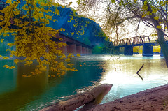 Two bridges at sunrise... (tomk630) Tags: railroad west sunrise virginia bridges