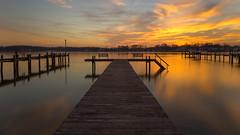 Sunset Blooming Reflections (ken.krach (kjkmep)) Tags: sunset bench pier middleriver