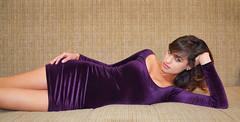 Deep Purple (DigitalLUX) Tags: morning light portrait woman girl face hair eyes pretty dress purple body young figure elegant
