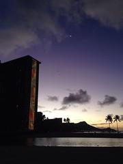 Morning Moon and Hilton Rainbow Tower Meet the Sun and No One Drinks Coffee (biped_808) Tags: morning beach clouds sunrise hawaii paradise waikiki silhouettes palmtrees diamondhead illuminate rainbowtower morningmoon kahanamokubeach hiltonrainbowtower hiltonwaikiki waikikirainbowtower