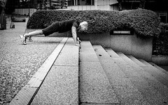 Strength & Discipline (DobingDesign) Tags: street city blackandwhite paris france lines stairs training concentration perspective citylife streetphotography rocky sneakers trainers stairway staircase strength athlete fitness mimicry sporty regime ladfense task urbanlife linedup discipline hedgerows pressup stamina