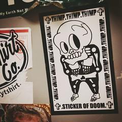 2015 Stickers (mcknightpercy) Tags: street urban usa streets art ink print skeleton skull graffiti sketch photo stickerart paint flickr sticky tag stickers vinyl artsy horror marker slap usps draw graff adhesive 228 lowbrow slaps 2015 slaptag thimp stickerporn