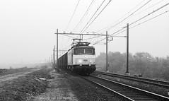 Goederen in de mist (Maurits van den Toorn) Tags: train zwartwit ns railway zug loc alstom freight trein apeldoorn goederen locomotief spoorlijn