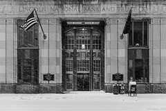 """Lincoln National Bank and Trust Co."" (D A Baker) Tags: lincoln national bank trust co company tower fort ft wayne indiana snowstorm snow berry street entrance flags art deco 1929 fujifilm fuji x100s daniel baker da"