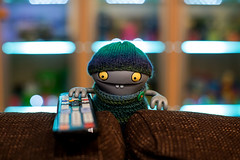 Uglyworld #2547 - Channels Hopperings - (Project On My Tods - Image 12-365) (www.bazpics.com) Tags: blue home wool hat project fun toy blog funny cookie day control action handmade crochet towers january vinyl knit couch jacket website ugly figure button change jumper remote cave 365 adventures custom uglydoll 12th channel annoying hopping uglydolls babo annoy 2015 pester uglyworld prettyugly barryoneilphotography adventuresinuglyworld uglyadventures