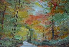 Autumn tints (amanda.parker377) Tags: autumn trees watercolours pastelpencils cotmanwatercolours woodedlane derwentpastelpencils