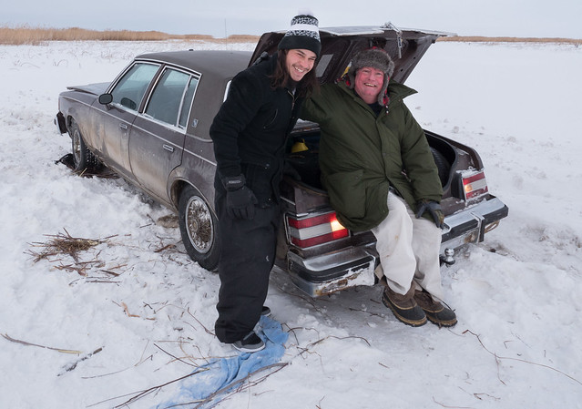 Helping a motorist on the ice road
