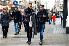 suits you sir! (jonron239) Tags: men london boys expression trainers jeans gesture oxfordstreet leatherjacket topman geezerwednesday