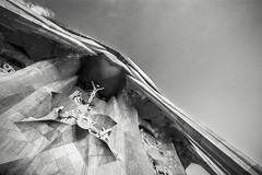 Looking Up at Sagrada Familia #2 (BoXed_FisH) Tags: barcelona travel blackandwhite bw white black church monochrome architecture grey mono spain sony religion grand wideangle monotone unesco espana gaudi catalunya es sagradafamilia archtitecture antonigaudi sonyalpha sonyzeiss zeiss1635 sonya7 sel1635z sony1635mmvariotessartfef4zaoss sonyzeiss1635f4oss