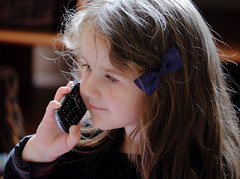 Hello.... (wivvy is getting there.) Tags: xt1 xf50140mmf28 granddaughter portrait phone chatting playing makebelieve child pretend
