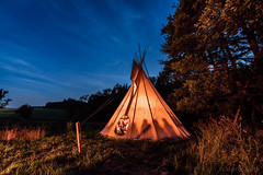 Tepee night (Martin Zurek) Tags: night sky blue stars tipi tepee travel adventure holiday vacation 5dsr canon5dsr 5d landscape light fire nature zeiss distagon distagont distagont2815 barbecue outdoor tent camping backcountry country countryside fun happiness stories story indian feeling
