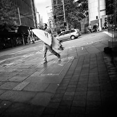 The Call of the Surf (Fuji and I) Tags: australia sydney surfboard surfing street blackandwhite monochrome alexarnaoudov