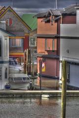 House Boats (robinlamb1) Tags: houses houseboats boats speedboats walkway cloudyskies outdoors river delta