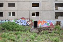 Graffiti on derelict plattenbau (baurichter) Tags: berlin monument concrete plattenbau ddr derelict gdr urbanexploring urbex wollenbergerstrasse