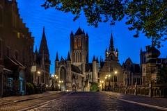 Across the bridge,Gent (urbanexpl0rer) Tags: street city longexposure bridge church cityscape belgium bluehour gent streetshot historicalcity