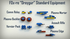 Dreygur Equipment Set (phayze81) Tags: mech mecha lego moc scifi sciencefiction mfz mf0 mobileframezero mobileframe mf frame bluerender ldd legorender equipment systems