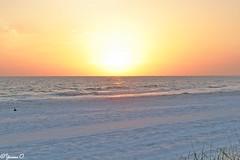 Sunset above white sand (Yvonne Oelsner) Tags: sunset sonnenuntergang whitesand beach strand orange sky landscape waterscape meer gulfcoast ocean water florida madeirabeach sand