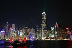 Hong Kong Skyline and Lightshow (Phil Wilco) Tags: hongkong hong kong night nacht hk outlook aussicht urban stadt city huge big gros light licht sightseeing sehenswrdigkeiten canon 5diii panorama skyline skyscraper hochhaus hochhuser sound und laser