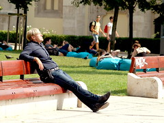 nou en (zoetnet) Tags: man sunbathing park budapest