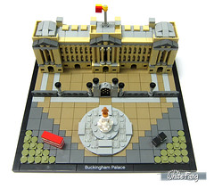 The completed built of Buckingham Palace (WhiteFang (Eurobricks)) Tags: lego architecture set landmark country buckingham palace victoria elizabeth royal royalty family crown jewel imperial statue tourist united kingdom uk micro bus taxi