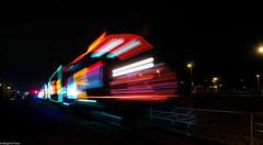 Christmas train (montrealmaggie) Tags: christmas light colour train fence