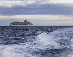 Leaving the Cruise Ship Behind (Denzil D) Tags: art clouds photo fishing florida bluewater atlanticocean floridakeys dreamboat wifephoto boatfishing lovecruise olympuspointshoot crusiseships