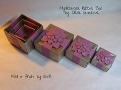 Hydrangea Ribbon Box  by Dasa Severova (esli24) Tags: origami hydrangea origamibox shuzofujimoto papierfalten origamischachtel origamihydrangea dasaseverova esli24 ilsez hygdrangeaschachtel
