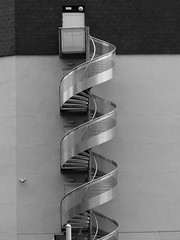 echelle (Andy WXx2009) Tags: urban blackandwhite france building monochrome architecture modern stairs europe artistic steel fireescape ladder limoges minamalist